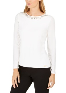 Calvin Klein Petite Embellished-Neck Top