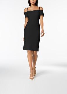 Calvin Klein Embellished Off-The-Shoulder Scuba Dress