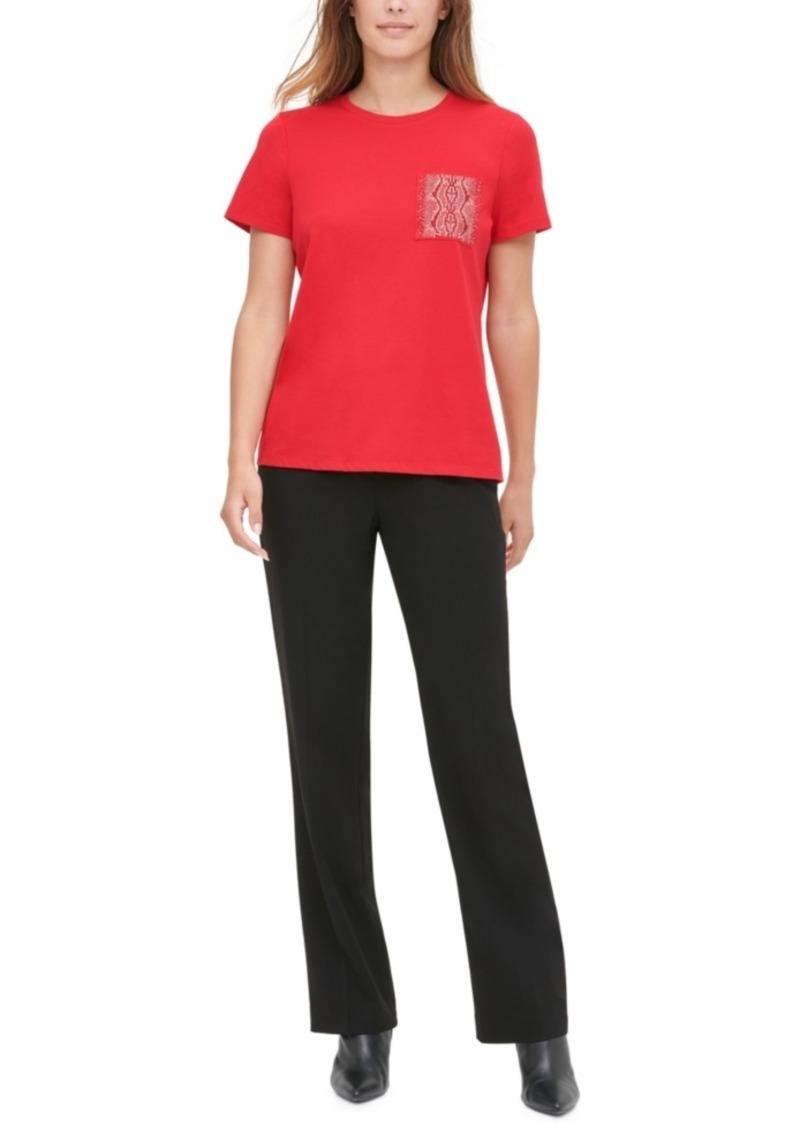 Calvin Klein Embellished Patch-Pocket T-Shirt