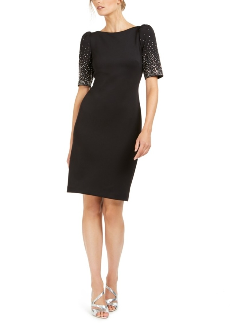 Calvin Klein Embellished-Sleeve Sheath Dress