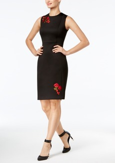 Calvin Klein Embroidered Applique Sheath Dress