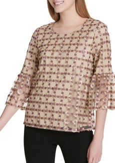 Calvin Klein Embroidered Bell-Sleeve Blouse