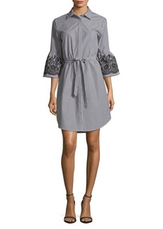 Embroidered Bell-Sleeve Tied Shirt Dress