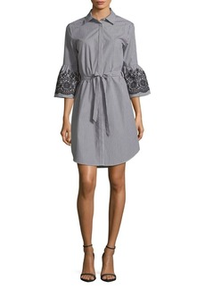 Calvin Klein Embroidered Bell-Sleeve Tied Shirt Dress