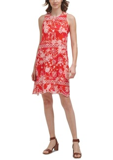 Calvin Klein Embroidered Chiffon Trapeze Dress