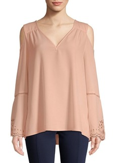 Calvin Klein Embroidered Cold Shoulder Blouse