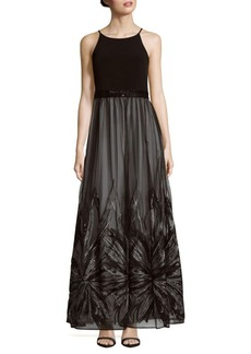 Calvin Klein Embroidered Floor-Length Dress