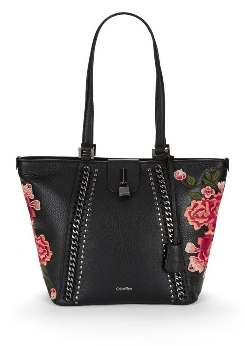 Calvin Klein Calvin Klein Embroidered Floral Leather Tote ...