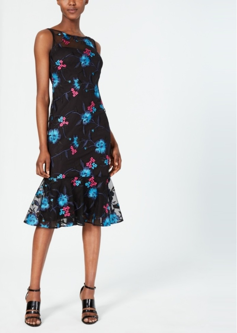 Calvin Klein Embroidered Mesh Sheath Dress