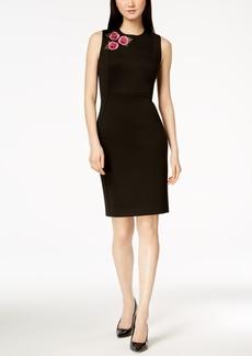 Calvin Klein Embroidered Scuba Sheath Dress