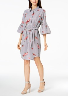 Calvin Klein Embroidered Bell-Sleeve Shirtdress, Available in Regular & Petite Sizes