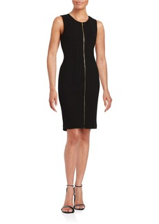 CALVIN KLEIN Exposed Zipper Sleeveless Ponte Sheath Dress