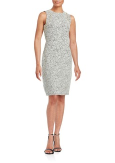 CALVIN KLEIN Exposed Zipper Textured Sheath Dress