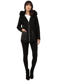 Calvin Klein Fashion Fur Trimmed Hood with Oversized PU Pocket