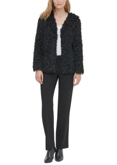Calvin Klein Faux-Feather Fuzzy Jacket