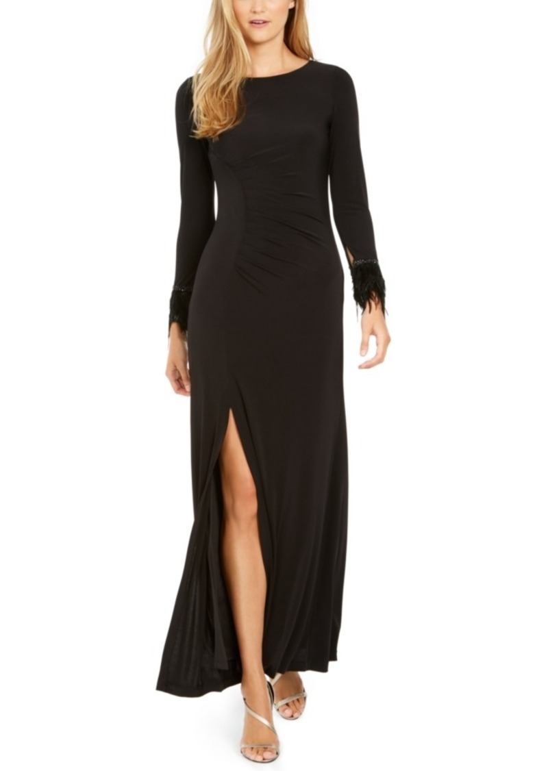 Calvin Klein Faux-Feather Ruched Slit Gown