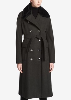 Calvin Klein Faux-Fur-Collar Maxi Trench Coat