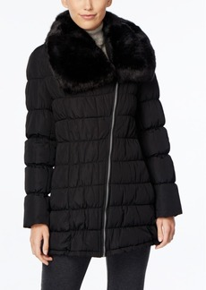 Calvin Klein Faux-Fur-Collar Puffer Coat