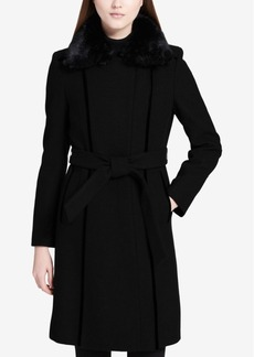 Calvin Klein Faux-Fur-Collar Velvet-Trim Walker Coat