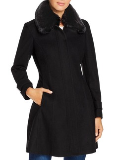 Calvin Klein Faux Fur-Collar Wool-Blend Coat