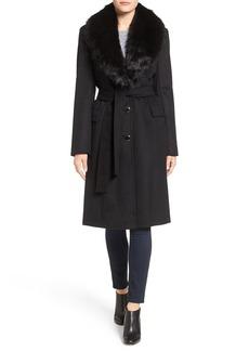 Calvin Klein Faux Fur Collar Wool Blend Coat