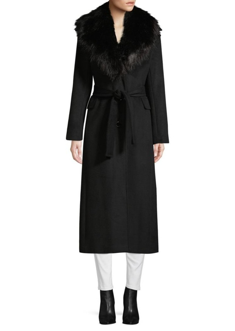 Calvin Klein Faux Fur Collar Wrap Coat