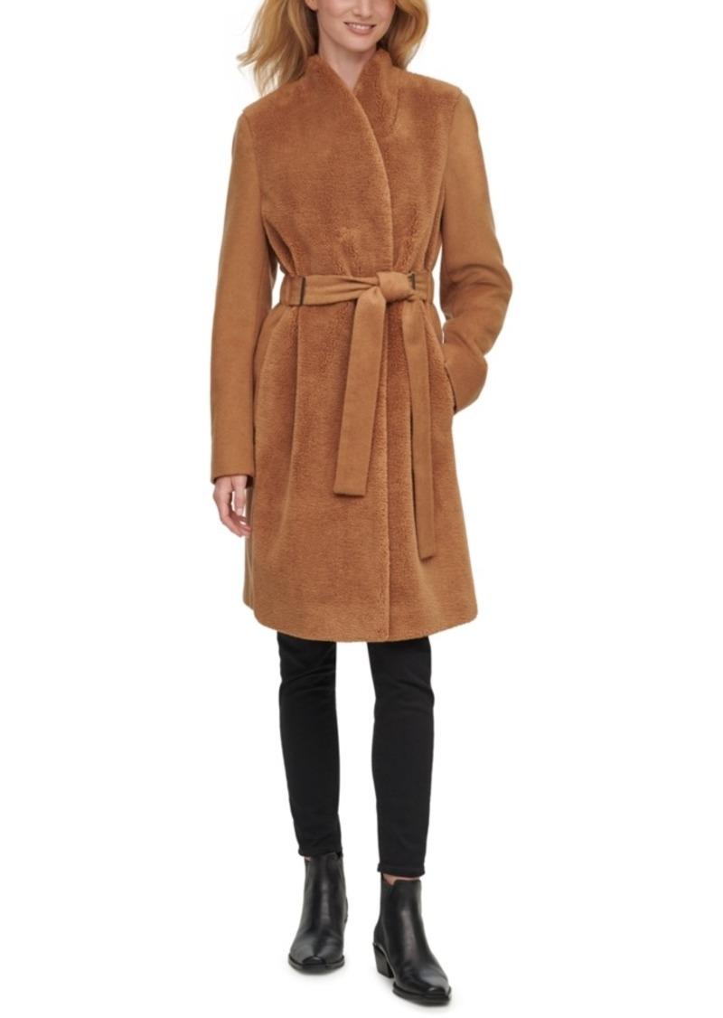 Calvin Klein Faux-Fur-Front Belted Teddy Wrap Coat