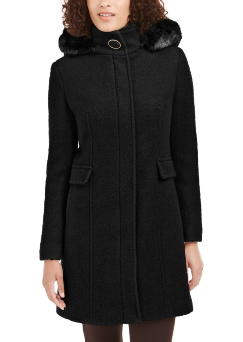 Calvin Klein Faux-Fur-Hood Walker Coat