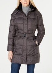 Calvin Klein Faux-Fur-Lined-Collar Hooded Belted Puffer Coat