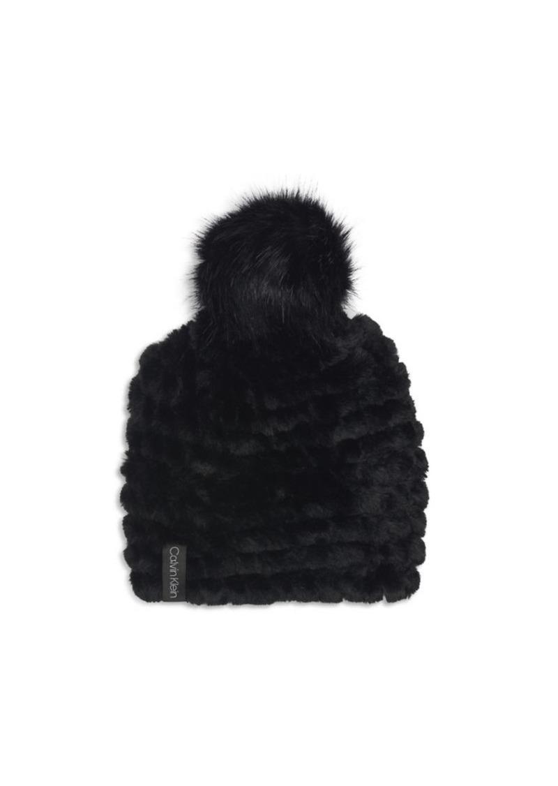 Calvin Klein Faux Fur Pom-Pom Beanie