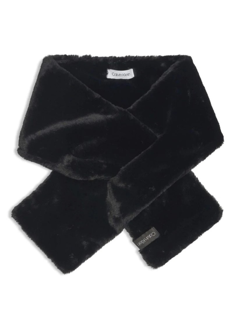 Calvin Klein Faux-Fur Pull Through Scarf