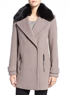 Calvin Klein Faux Fur Trim Basket Weave Wool Blend Coat