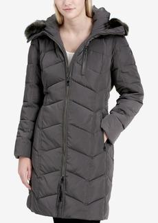 Calvin Klein Faux-Fur-Trim Hooded Chevron Puffer Coat, Created for Macy's