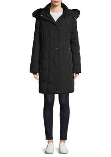 Calvin Klein Faux Fur-Trim Hooded Coat