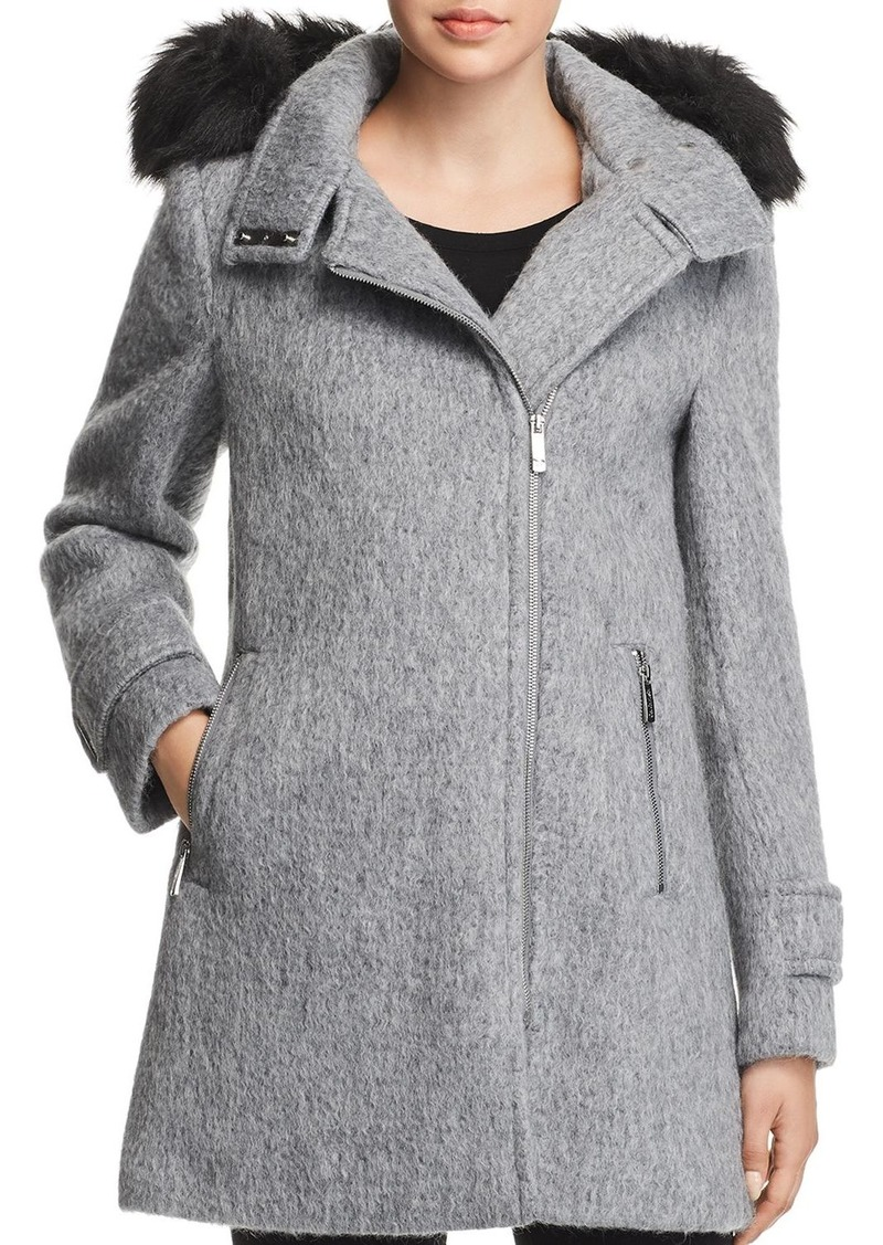 Calvin Klein Faux Fur Trim Hooded Coat
