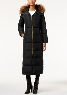 Calvin Klein Faux-Fur-Trim Hooded Down Maxi Puffer Coat