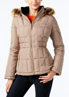 Calvin Klein Faux-Fur-Trim Hooded Puffer Coat