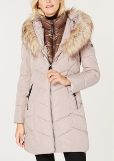 Calvin Klein Hooded Faux-Fur-Trim Puffer Coat