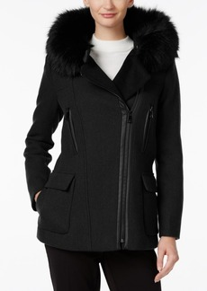 Calvin Klein Faux-Fur-Trim Hooded Walker Coat