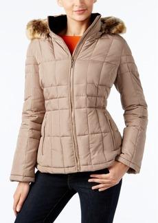 Calvin Klein Faux-Fur-Trim Hooded Water-Resistant Puffer Coat