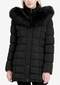 Calvin Klein Faux-Fur-Trim Layered Puffer Coat