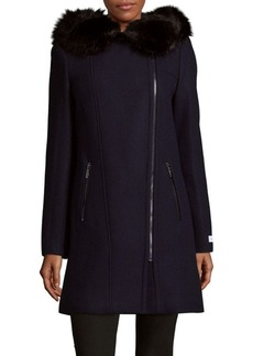 Calvin Klein Faux Fur Trim Long Coat