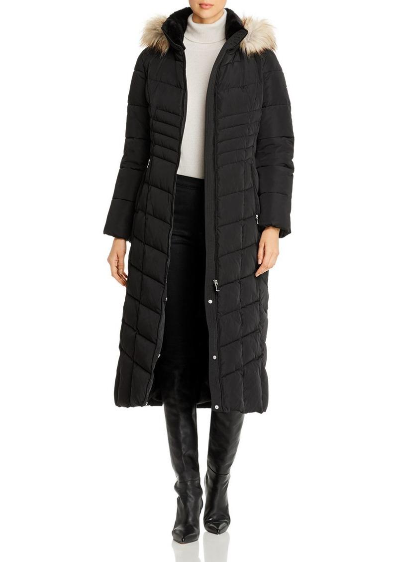 Calvin Klein Faux Fur-Trim Long Quilted Coat