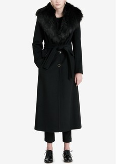 Calvin Klein Faux-Fur-Trim Maxi Coat