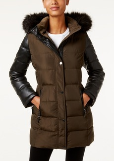 Calvin Klein Faux-Fur-Trim Mixed-Media Water-Resistant Puffer Coat