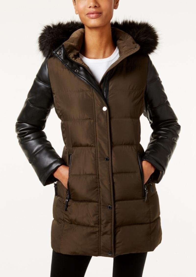 Calvin Klein Faux-Fur-Trim Mixed-Media Water-Resistant Puffer Coat
