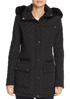 Calvin Klein Faux Fur Trim Quilted Coat