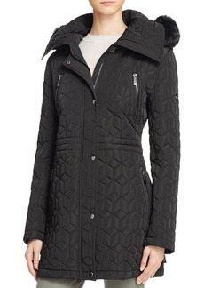 Calvin Klein Faux Fur Trim Quilted Jacket