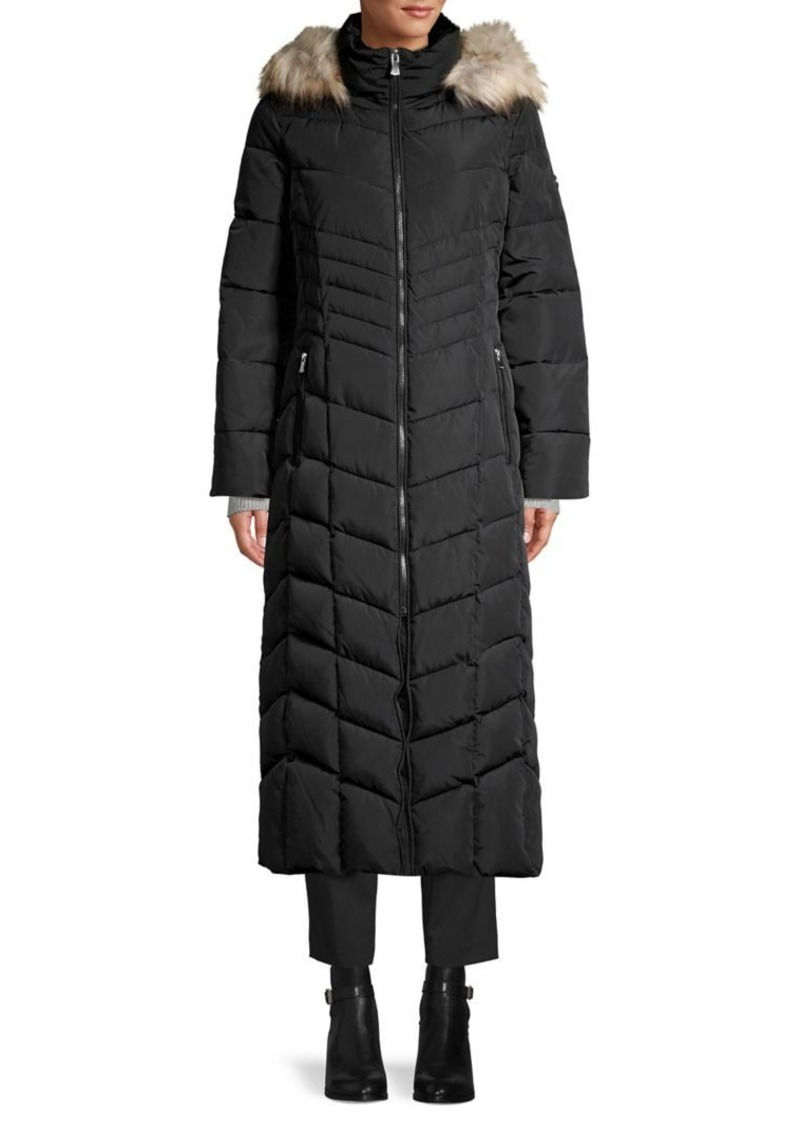 Calvin Klein Faux-Fur Trim Quilted Puffer Coat