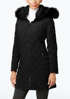 Calvin Klein Faux-Fur-Trim Quilted Water Resistant Down Coat
